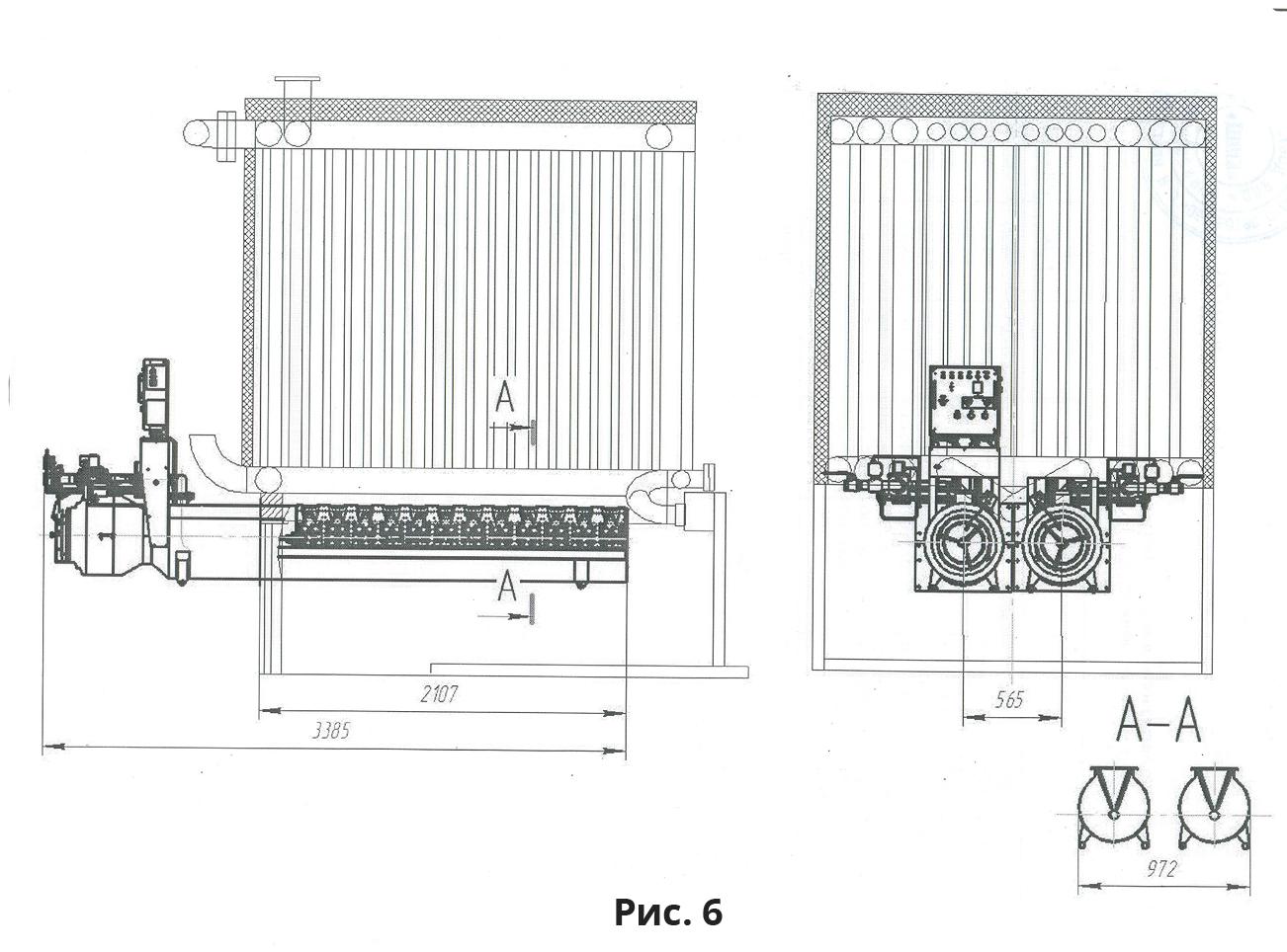 Расположение подовой горелки ГБП-850 в топочном пространстве котла